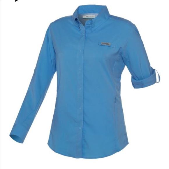 5fcc4ed11da Columbia Tops - •Columbia• Blue Tamiami Long Sleeve Fishing Shirt